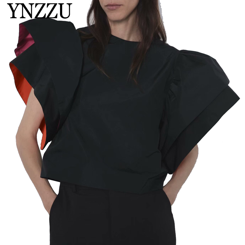 YNZZU 2019 New arrival 100% cotton Women Black Tops Short sleeve Loose Round neck T shirt Puff Fashion YT674