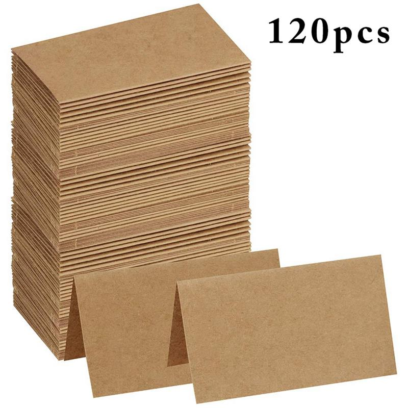 120pcs Vintage <font><b>Blank</b></font> Kraft Paper Table Number Name <font><b>Card</b></font> Place <font><b>Cards</b></font> Wedding Wedding Birthday Party Decoration <font><b>Invitations</b></font> image