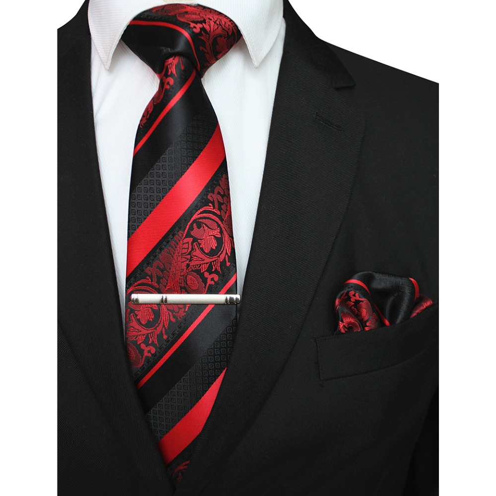 GUSLESON New Classic Striped Floral Men Ties Pocket Square Tie Clip Set Red God Green Silk Necktie Suit Wedding Business