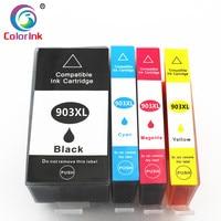 Colorink 4 pacote cartucho de tinta 903xl 907xl cartucho de tinta para hp 903 xl officejet pro 6950 6960 6970 cartuchos de tinta de alto rendimento