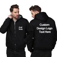 Custom Men women Hoodies DIY Print LOGO Design Plus velvet Jacket Sweatshirt Winter Fleece Thicken Coat Wholesalers Drop Shipper