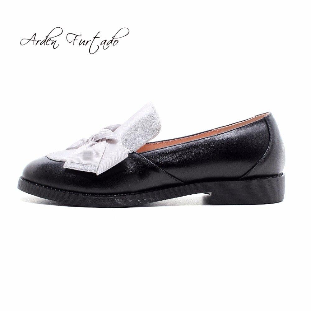 Chaussures Femme Furtado En Silver Noeud 2018 Pour Arden Automne Casual Dames Cuir Brogue Papillon Glisser Véritable Appartements black Printemps Sur nP4x6xdwB