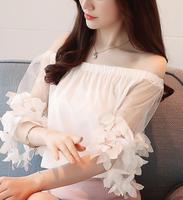 الشحن مجانا جودة عالية 2018 الصيف وصول جديدة الحلو معطلة الكتف لون نقي المرأة الشيفون بلوزة بيضاء