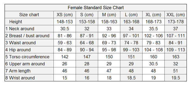 Female Shirt Size Chart