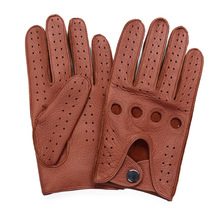 High Quality MenS 2018 New Hot Sale Deerskin Gloves Four Seasons Fashion Driving Genuine Leather Full Finger Men AM032-5