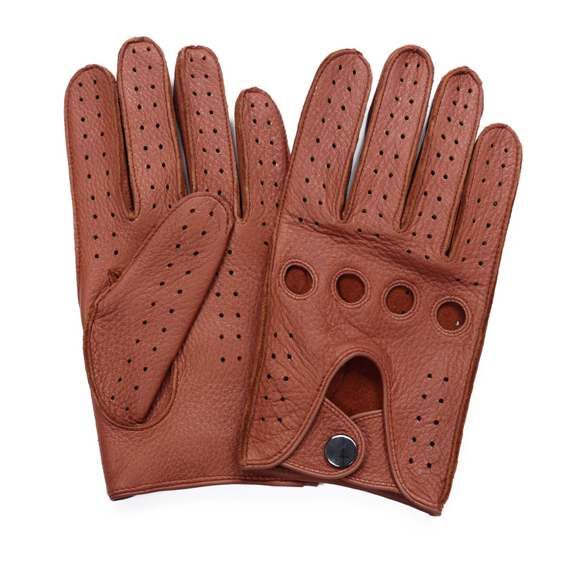 High Quality Men'S 2018 New Hot Sale Deerskin Gloves Four Seasons Fashion Driving Genuine Leather Full Finger Gloves Men AM032 5