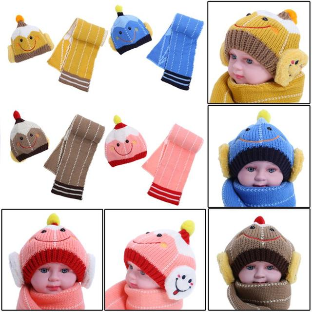 baby caps hats Winter Knitted Baby Hat Scarf Set Robot Smiling Face Ear  Protection Cap children s hats for newborns ec01cecbbc3d