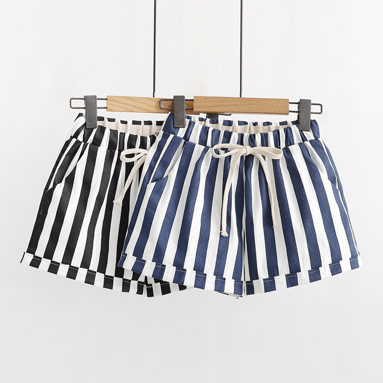 WYNNE GADIS Summer Striped Casual Women's Shorts Lace Up Elastic Waist Lace Up Loose Straight Shorts For Female's Clothing