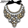MANILAI Women Handmade Exaggerate Crystal Big Necklace Bead Bib Collar Fashion Statement Necklaces Maxi Jewelry Bijoux femme