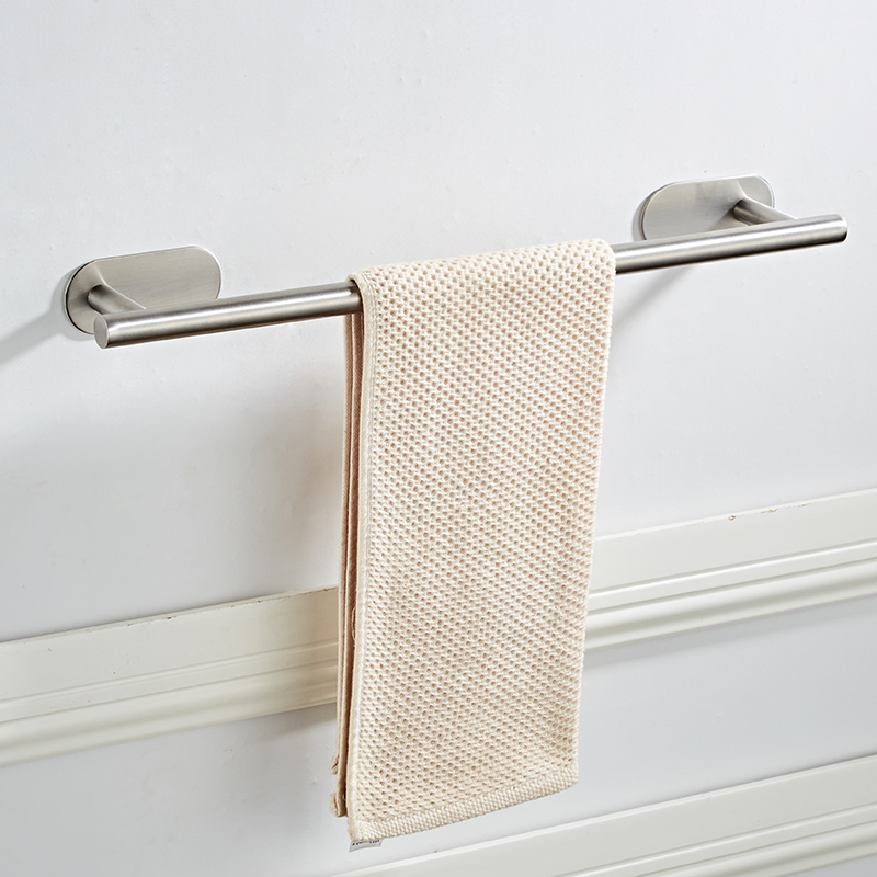 New Wall Mounted Stainless Steel Towel rack in bathroom towel bars Hotel Home Clothes Towel Holder Storage Rail Shelf Punch free in Towel Bars from Home Improvement