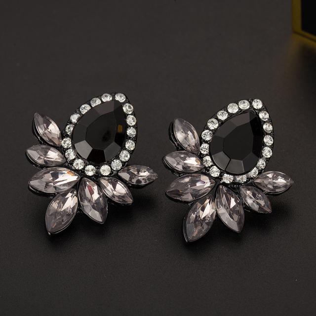 Gray/Pink Glass Black Resin Sweet Metal with Gems Ear Stud Earrings
