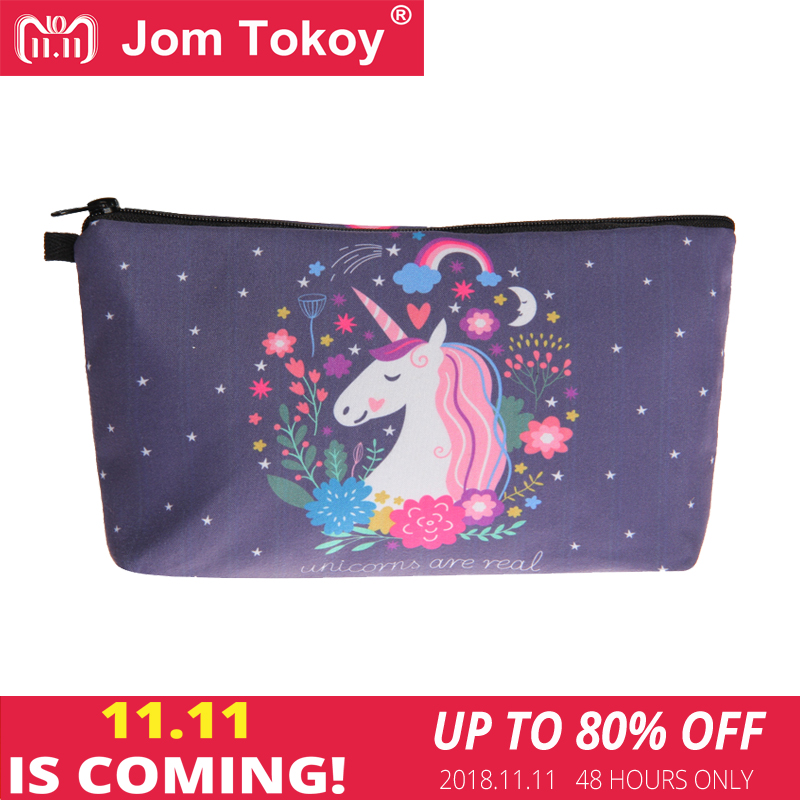 Jom Tokoy Cosmetic Bag Fashion Women Brand makeup bag 3D Printing Unicorn cosmetic organizer bags jom tokoy unicorn 3d printing cosmetic bag women makeup bag 2017 fashion cosmetic cares trousse de maquillage neceser