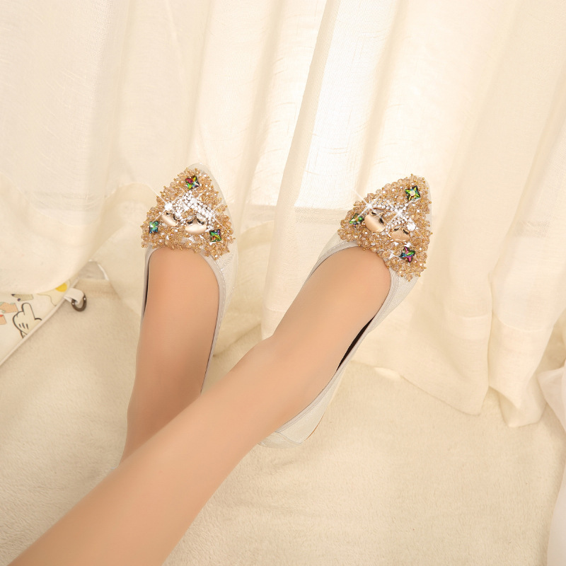 Plates Perles Chaussures golden Danse Strass Élégant Dame silvery Mode Doux Fisdyrax Cristal Femmes De Confortable Femme Black Axwvvt