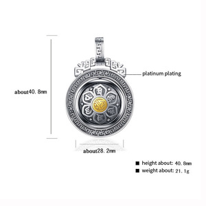 Image 2 - BALMORA 925 Sterling Silver 360 Rapid Rotating Six Words Sutra Pendants & Necklace for Women Men Buddhism Cool Fashion Jewelry