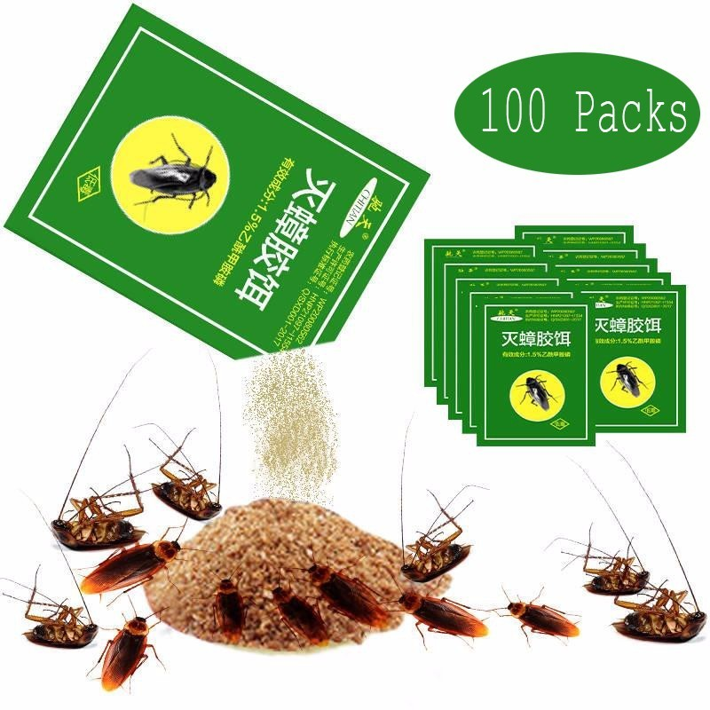 100Pcs Pest Control Very Powerful Killing Cockroach Bait Powder Cockroach Repeller Insect Roach Killer Anti Pest Reject Trap-in Baits & Lures from Home & Garden