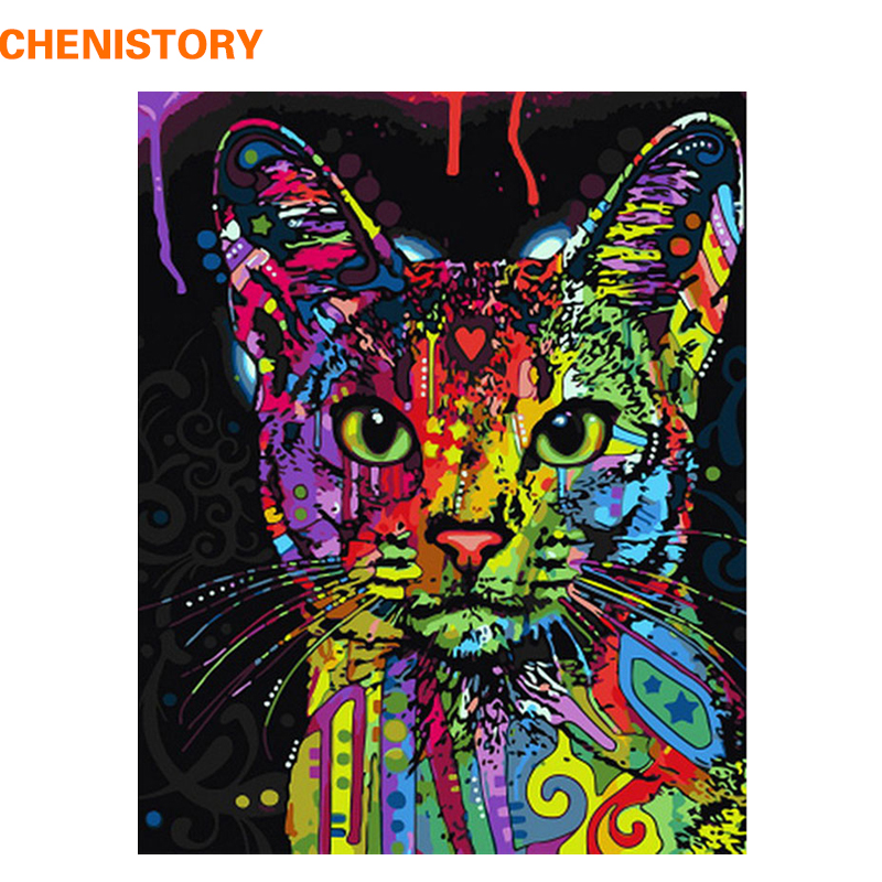 CHENISTORY Colorful Cat DIY Painting By Numbers Abstrakt Moderne Wall Art Picture Kit Coloring Maleri Med Tall For Hjemmeinnredning