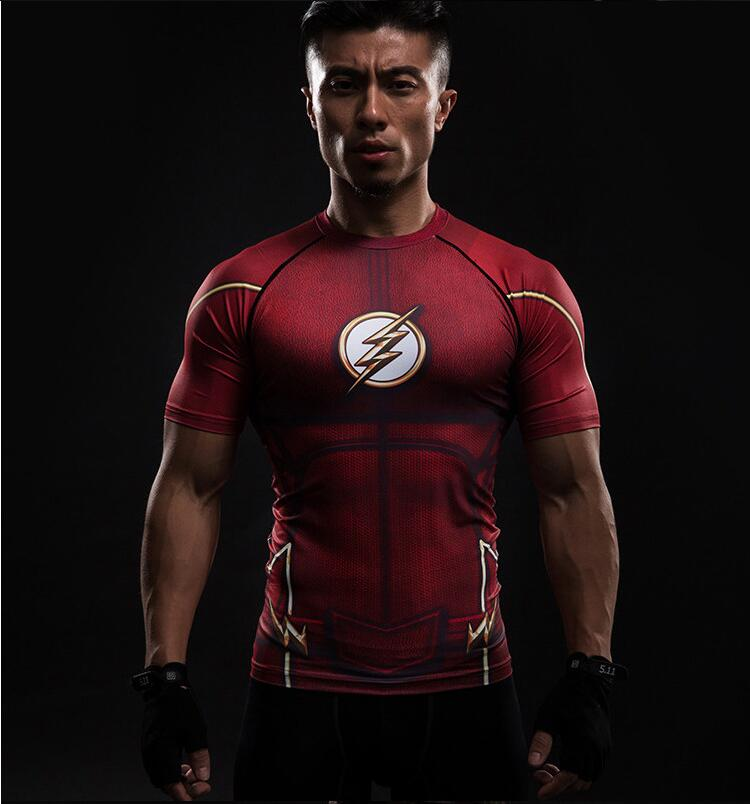 New red flash compression shirt fitness tights quick dry short sleeve t shirt Summer Men tee tops clothing Лосины