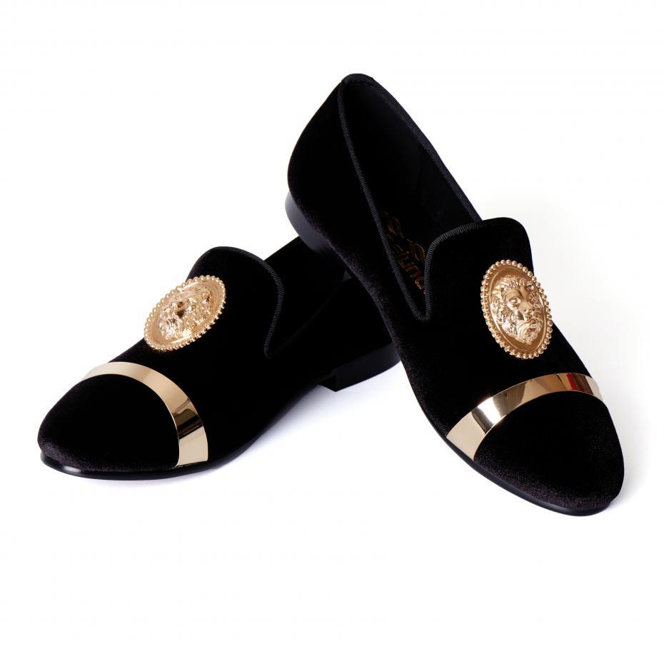 Harpelunde Black Men Velvet Loafer Shoes Animal Buckle Dress Wedding Shoes With Gold Plate Size 6-14