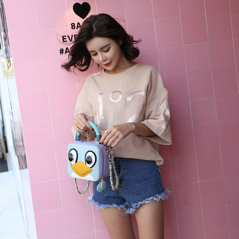 Bolsas Feminina The New 2018 Ms Single Shoulder Bag Han Edition Chain Box Small Bread Into Color Portable Worn Penguins Package