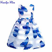 Kseniya Kids Summer Girls Butterfly Print Lace Dress Big Gir