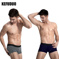KEFUDUO хлопок боксер мужские трусы одноцветное для мужчин мужское нижнее белье, Трусы Дышащие мужские боксеры s нижнее бельё Calzoncillos