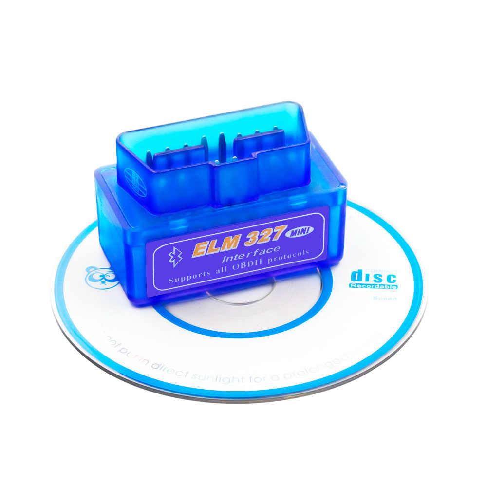 2020 Super Mini ELM327 بلوتوث V2.1 / V1.5 OBD2 سيارة أداة تشخيص الدردار 327 بلوتوث 4.0 للأندرويد/سيمبيان OBDII بروتوكول
