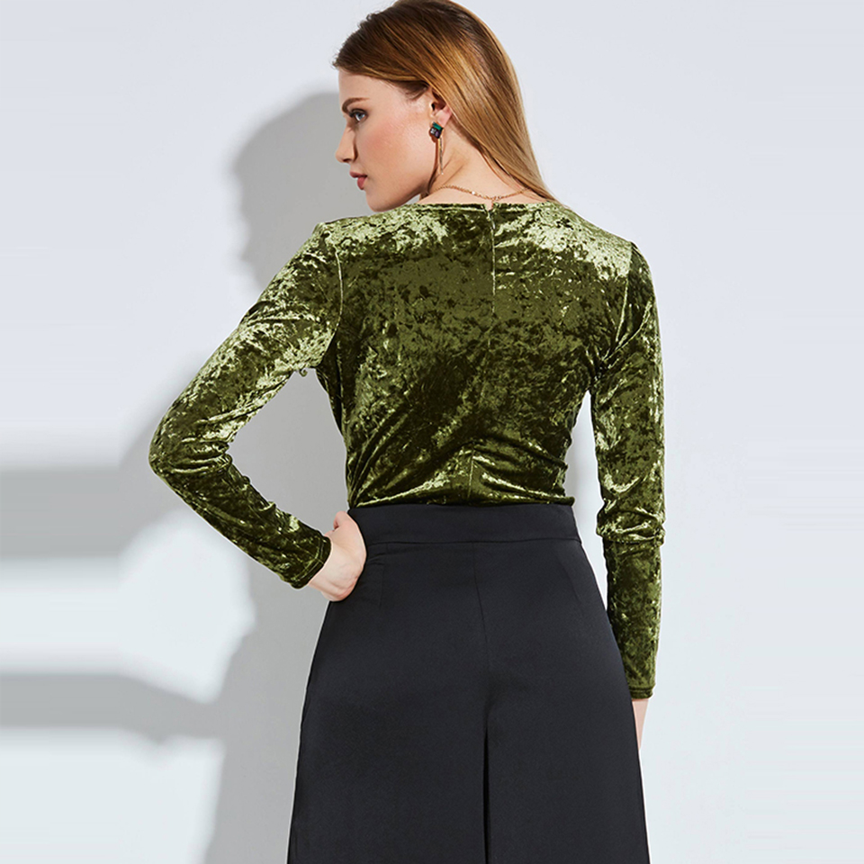 c217828d9d12d8 Kinikiss Sexy Velvet Bodysuit Bodycon Green Brown Women Deep V Neck Long  Sleeve Playsuits Jumpsuits Party Club Romper Bodysuits-in Bodysuits from  Women s ...