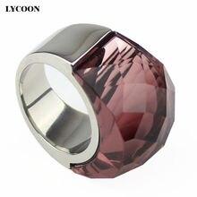 Женское кольцо из нержавеющей стали прозрачное винно красное