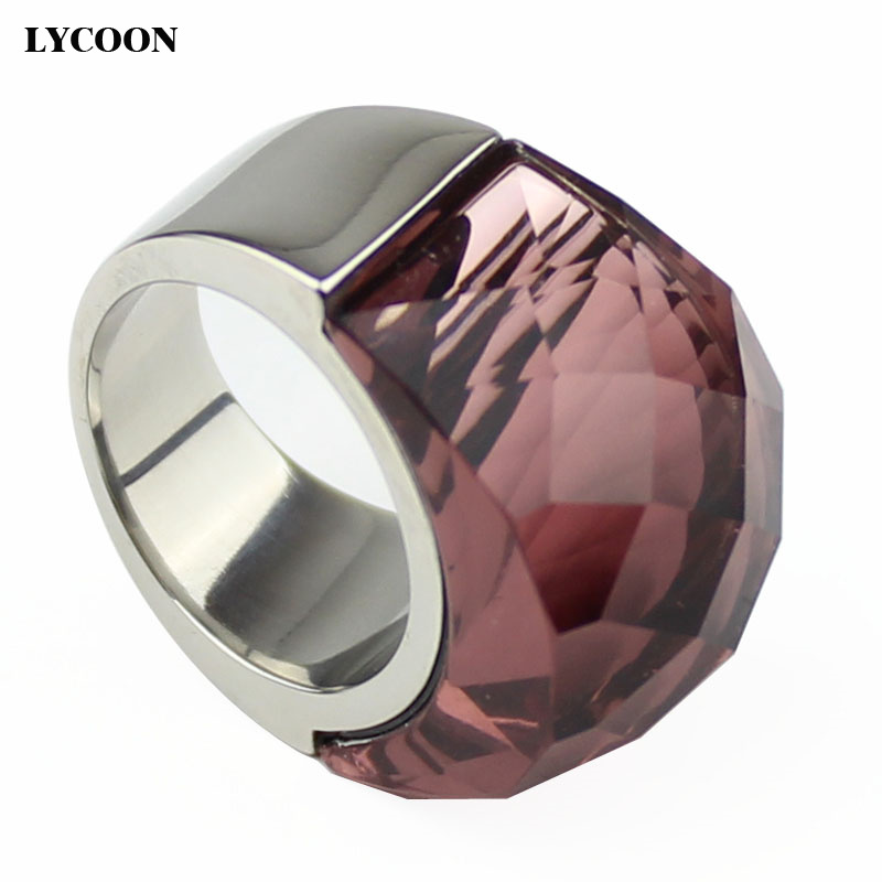 Hight quality stainless steel Jewelry cut crystal ring clear transparent wine red crystal for woman Noble Ring in silver color
