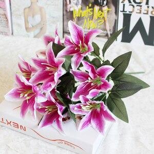 Image 5 - 1 cái 10 Người Đứng Đầu Nhiều Màu Nhân Tạo Lily Flower Bouquet Hoa Giả Bridal Hoa Wedding Trang Trí Vòng Hoa P20