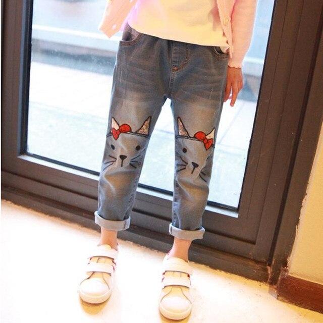 Новые Приходят 2017 Весна Дети одежда новорожденных девочек милый кот джинсы брюки мультфильм изображения девушки джинсы 3-10yrs