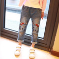New Arrive 2017 Spring Kids clothing baby girls cute cat jeans pants cartoon image girls jeans 3-10yrs