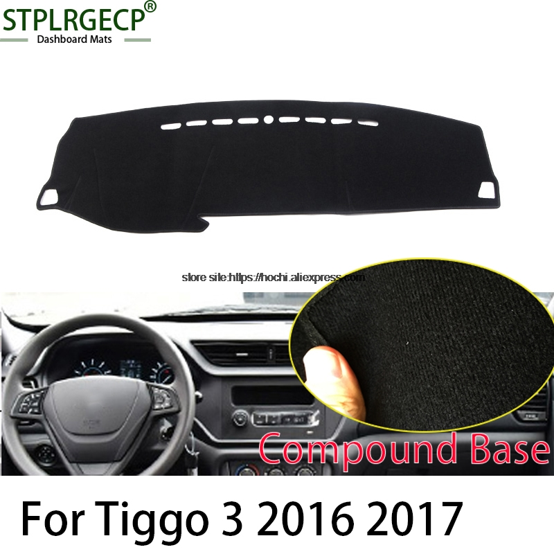 STPLRGECP double layer Black Dash Mat For Chery tiggo 3 2014-2017 Dashmat Black Carpet Car Dashboard Automotive interior Mats stplrgecp double layer black dash mat