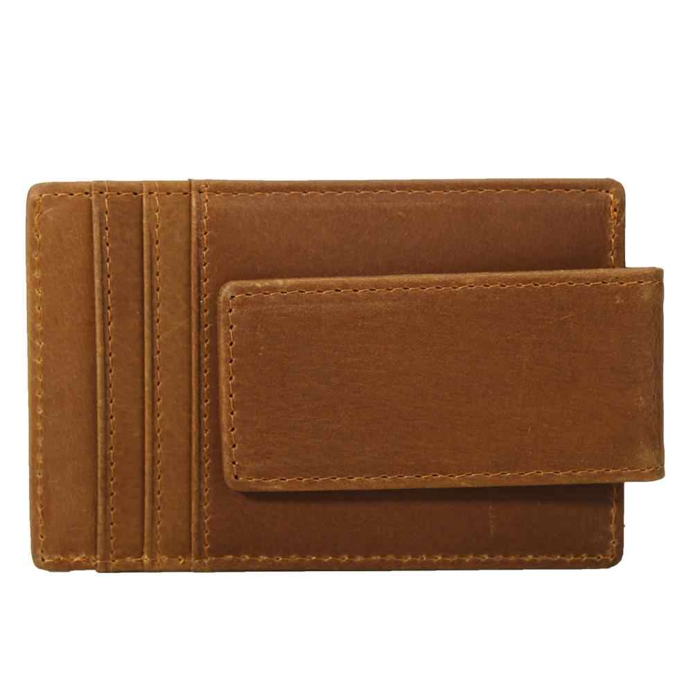 Tiding из натуральной кожи мужской зажим для денег коричневый ID держатель для карт, тонкий кошелек винтажный кредитный Кошелек для монет, карт RFID Блокировка 9204