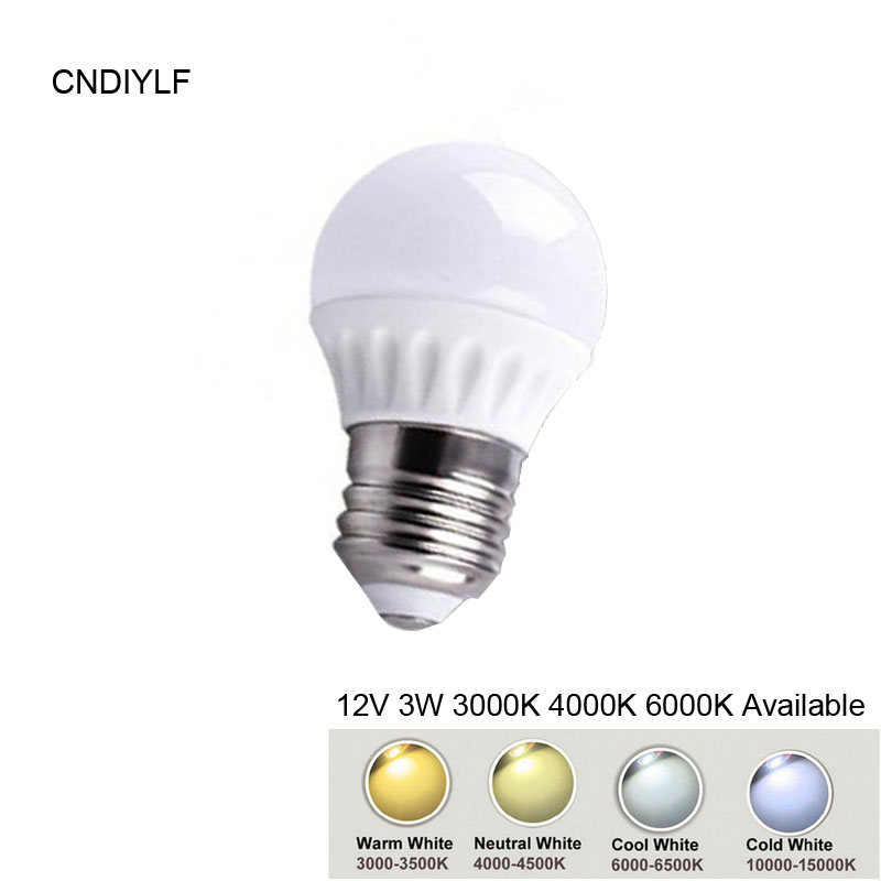 High Power 3W E27 LED Lamp DC12VCeramic Shape 3000K,,6000K F