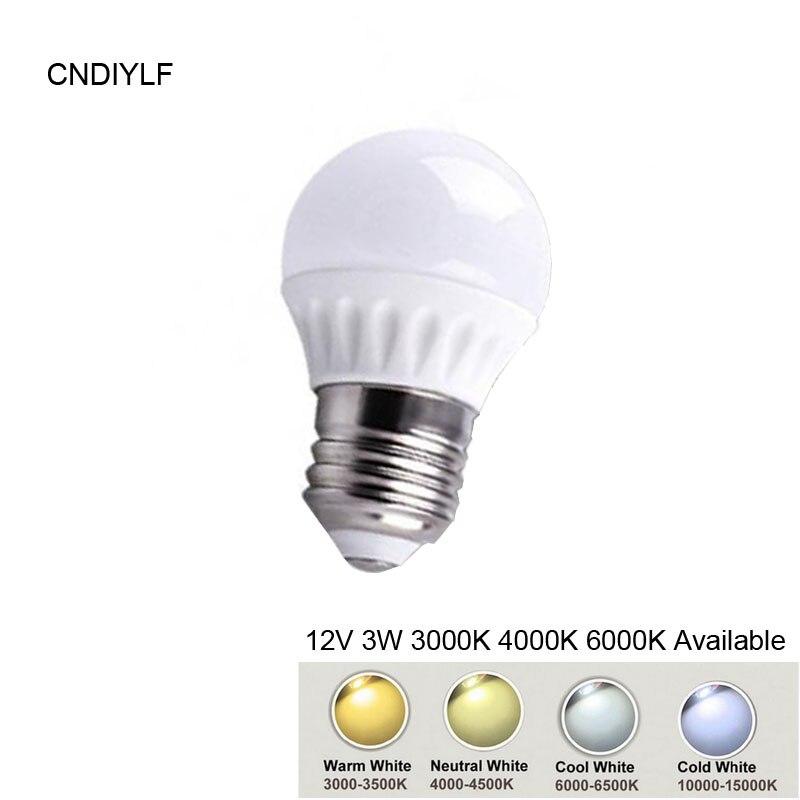 High Power 3W E27 LED Lamp DC12VCeramic Shape 3000K,,6000K Free Shipping Via Register Air Mail