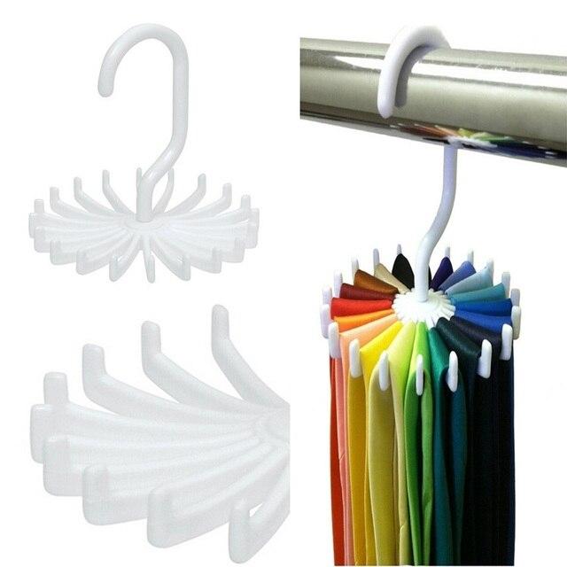 Hoomall Mini Nhựa Tie Giá 20 Quan Hệ/Thắt Lưng/Chiếc Khăn Giữ Móc Áo Móc Xoay Trắng Tie Chủ Kệ Lưu Trữ giặt Tổ Chức