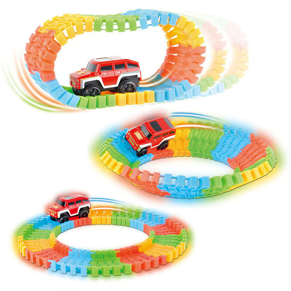 Electronic Roller Coaster Rail Car Toy Diecast DIY Puzzle Toy Car Children Kids Birthday Christmas Gift