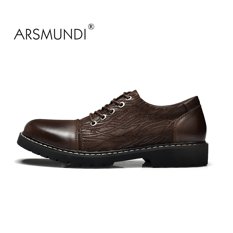 ARSMUNDI 2017 New Arrival Mens Fashion Genuine Leather Men Casual Shoes Lace Up Brown Formal Mens Shoes Man Winter Handmade zdrd new fashion genuine leather men business casual shoes british low top lace up suede leather mens shoes brown red men shoes