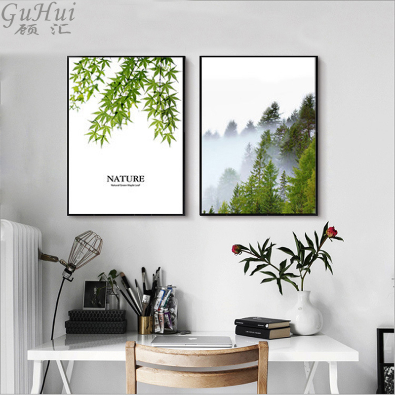 Us 4 04 50 Off Nordic Forest Canvas Painting Trees Nature Wall Pictures Green Leaves Modern Home Room Decorative Landscape Art Posters Print In