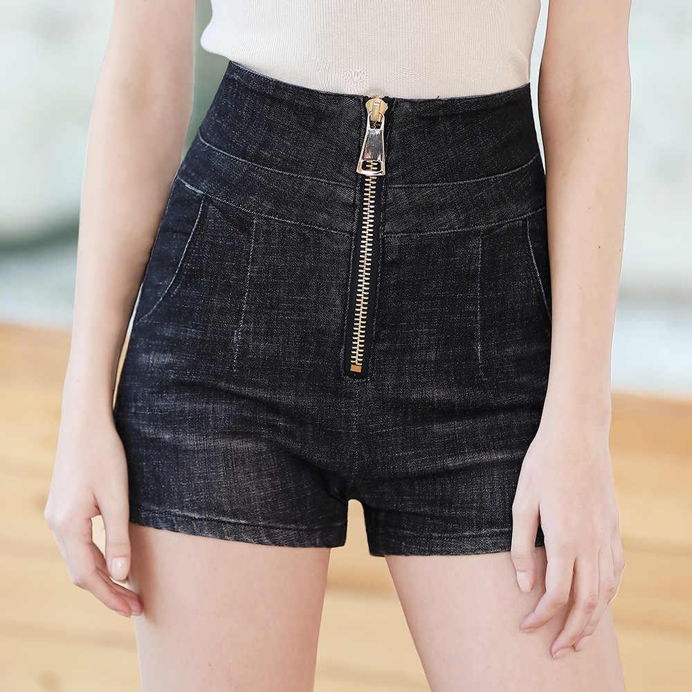 Moda europa i stany zjednoczone znane marki wysokiej talii duży zamek błyskawiczny damskie spodenki jeansowe dzikie cienkie Jeansy ze streczem szorty damskie