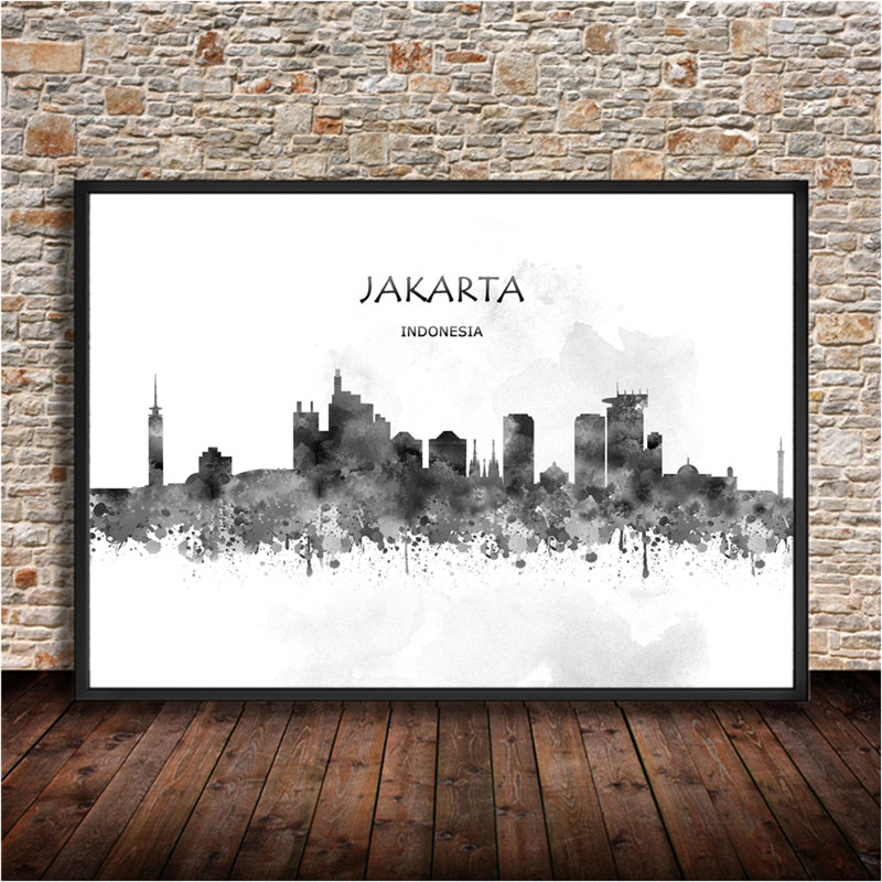 Indonesia Capital JAKARTA Poster Kraft Paper Retro Print Painting Wall Stickers Home Living Room Cafe Bar Pub Decoration