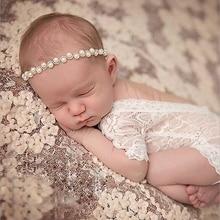 2018 Newborn Photography Props Girl Headwear Pearl Flower Headband Accessories