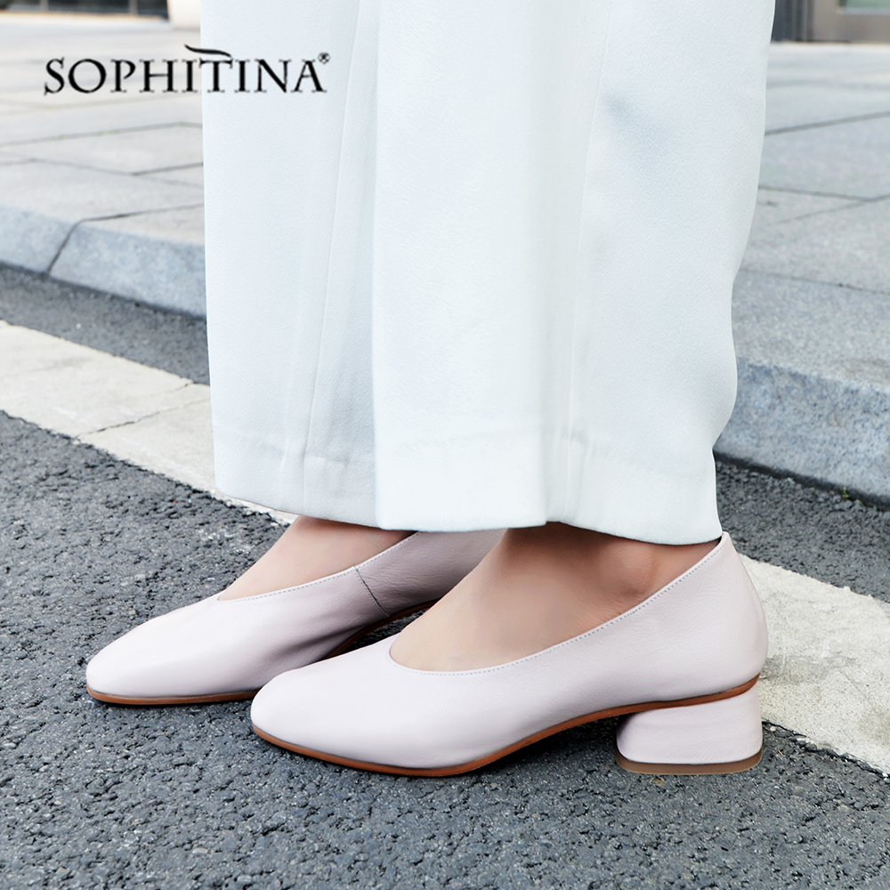 SOPHITINA High Square Heel Pumps Slip on Square Toe Leisure Fashion Shallow Shoes New Genuine Leather