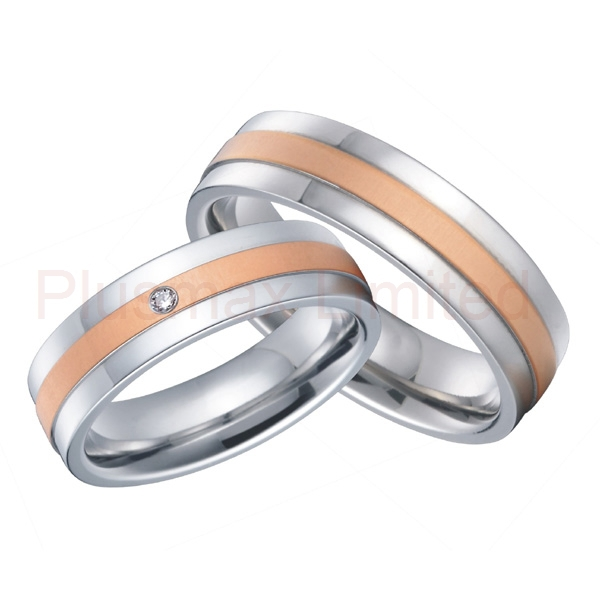 High End Handmade Rose Gold Color Inlay Bride And Groom Custom