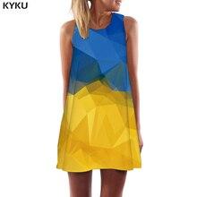 KYKU Brand Geometric Dress Women Union Flag Boho Ukraine Korean Style Harajuku Sexy Gothic Party Womens Clothing Vintage