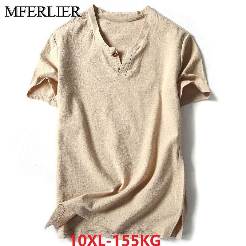 MFERLIER Summer Plus Size Big 5XL 8XL 9XL 10XL Men Cotton Linen T-shirts Short Sleeve Vintage Tees V-neck TShirt 150KG 140KG 6XL