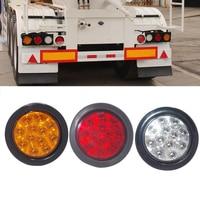 2Pcs 4 Inch Round 12LED Red/Amber/White Lens For Truck Trailer Stop Turn Tail Brake Side marker driving Light