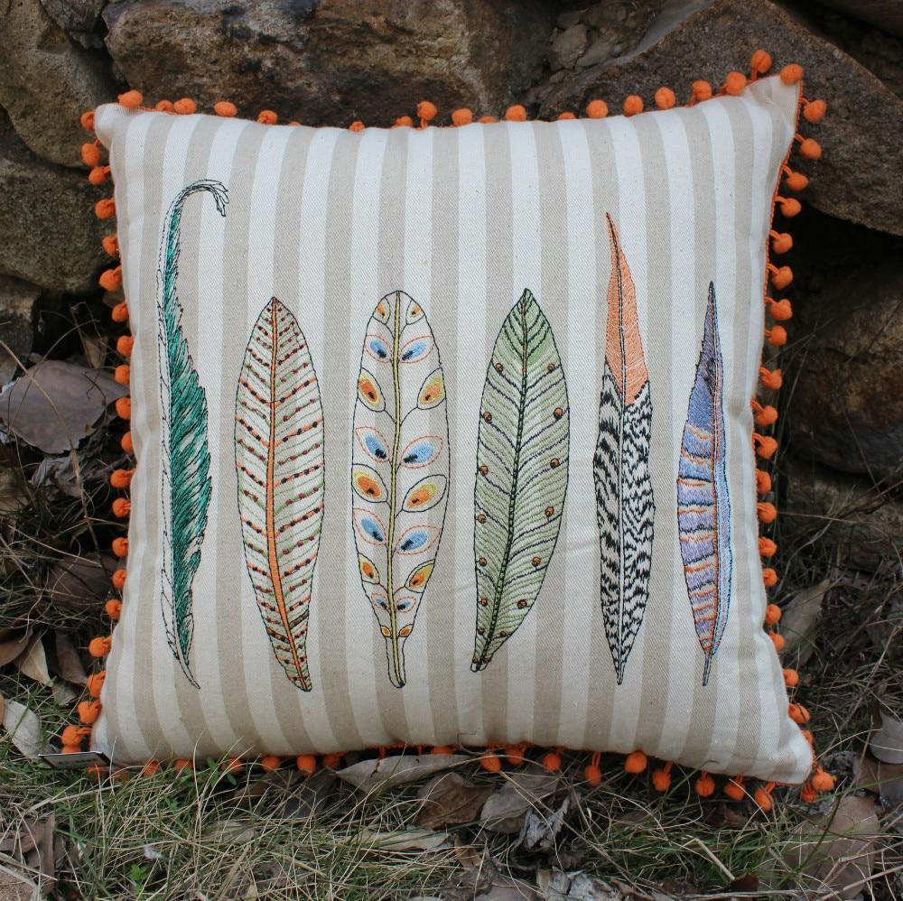 VEZO HOME Embroider Bird Feathers Linen Sofa Cushions