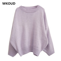 WKOUD Winter Lantern Sleeve Sweater For Female Solid Loose Knitted Pullovers Women's Casual O neck Jumpers Fall Tops M8127